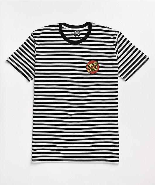 Santa Cruz Classic Dot Black & White Stripe T-Shirt