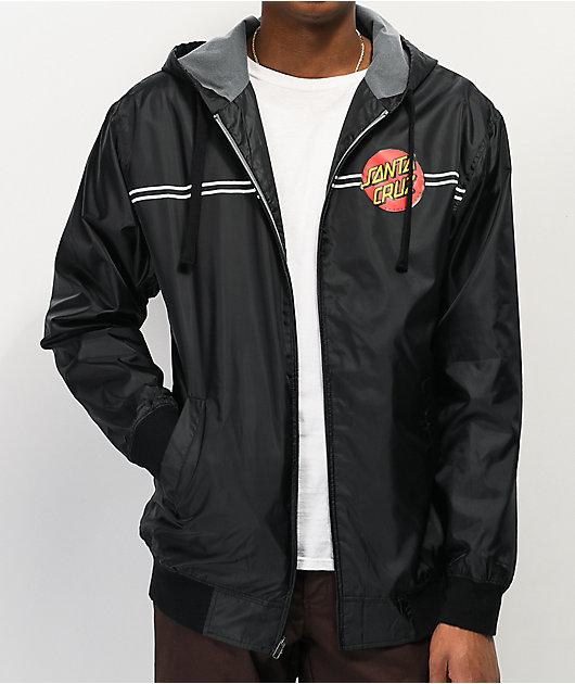 Santa Cruz Classic Dot Black Windbreaker Jacket