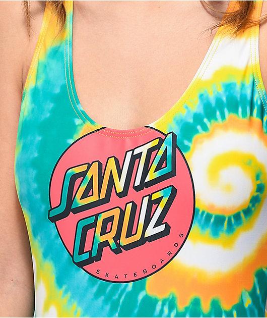 Santa Cruz Classic Dot Blue Tie Dye One Piece Swimsuit