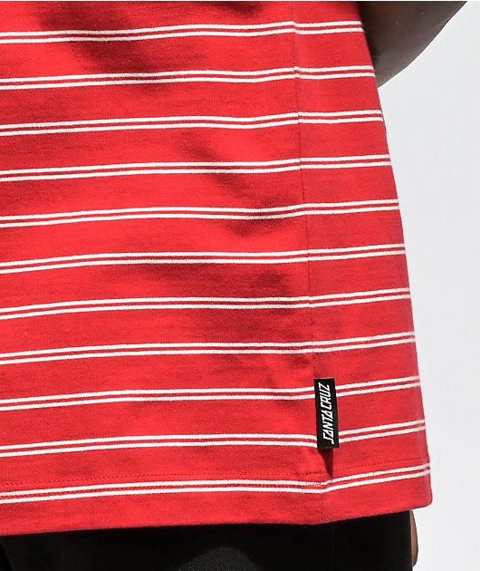 Santa Cruz Classic Dot Double Stripe Red & White T-Shirt