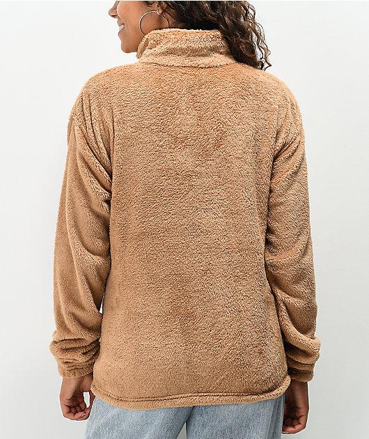 Santa Cruz Club Oval Dot Tan Sherpa Half-Zip Sweatshirt