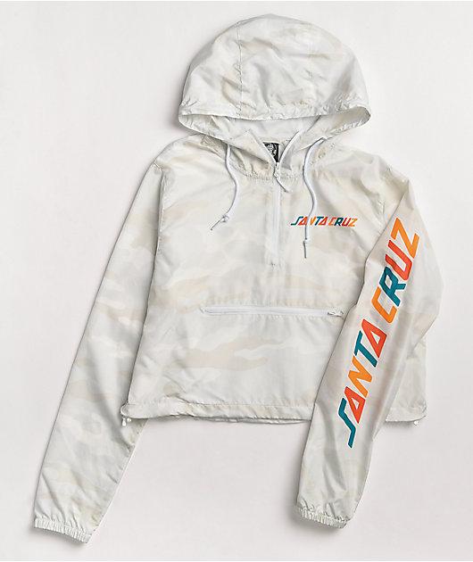 Santa Cruz Color Strip White Crop Anorak Jacket