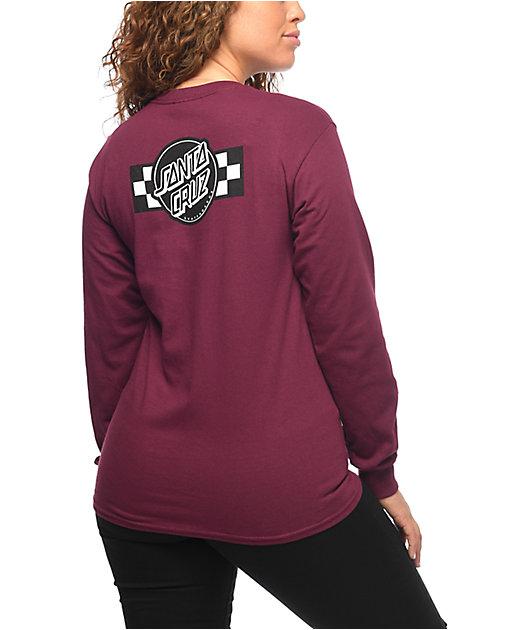 Santa Cruz Contest Burgundy Long Sleeve T-Shirt
