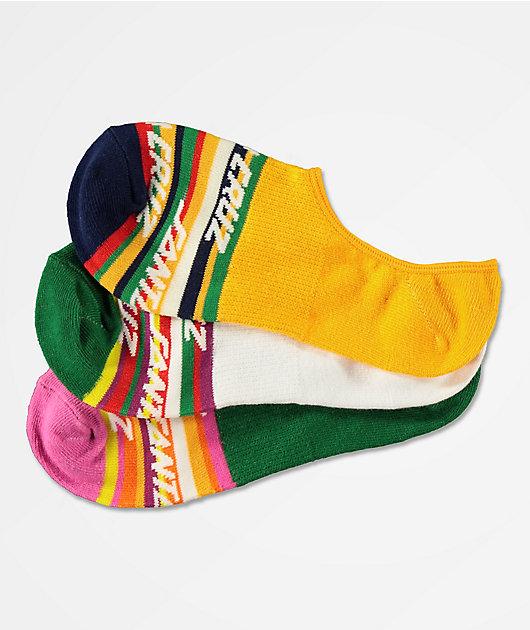Santa Cruz Cruz Stripe 3 Pack No Show Socks