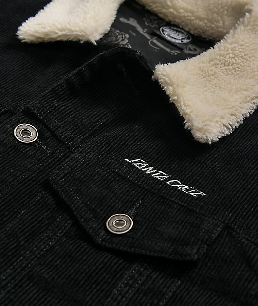 Santa Cruz Decay Black Corduroy Sherpa Jacket