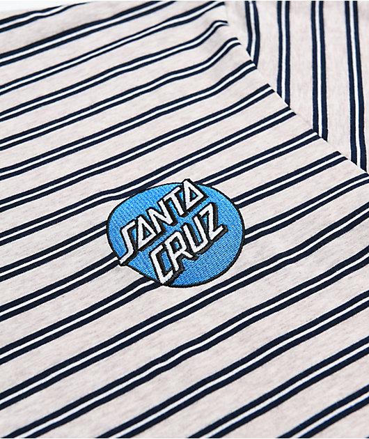 Santa Cruz Embroidered Dot Grey & Black Stripe T-Shirt