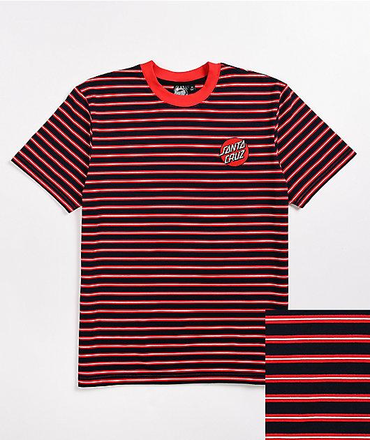 Santa Cruz Embroidered Dot Navy & Red Stripe T-Shirt