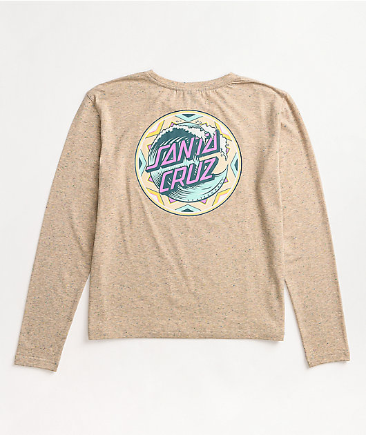Santa Cruz Fiesta Wave Dot Beige Long Sleeve T-Shirt