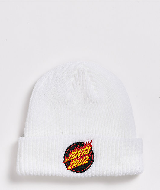 Santa Cruz Flame Dot White Beanie