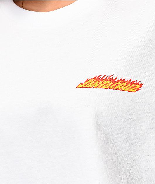 Santa Cruz Flaming Dot White Crop T-Shirt