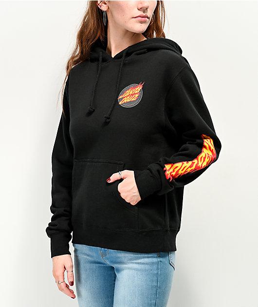 Santa Cruz Flaming Dot sudadera con capucha negra