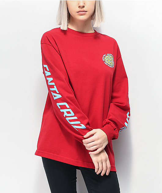Santa Cruz Hands Wheel Red Long Sleeve T-Shirt