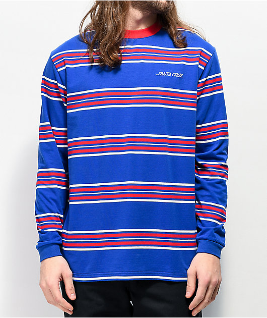 Santa Cruz Lined Up Blue & Red Stripe Knit Long Sleeve T-Shirt