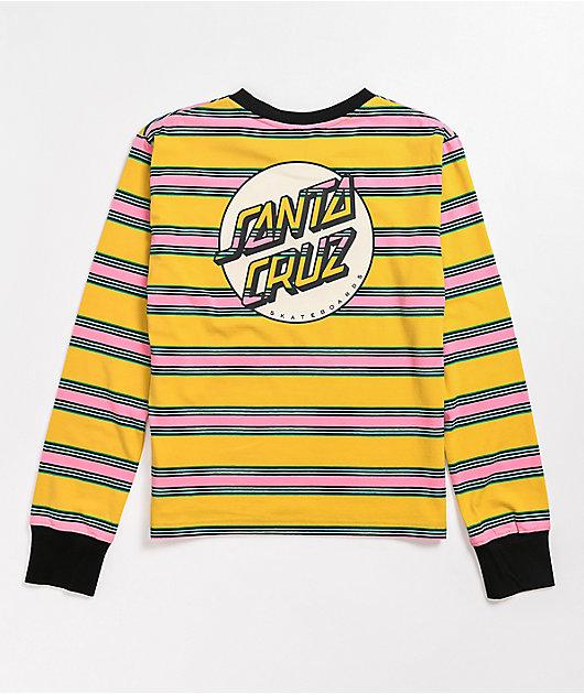 Santa Cruz Missing Dot Striped Yellow Long Sleeve T-Shirt