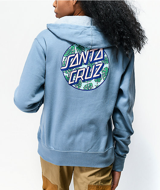 Santa Cruz Monstera Dot Misty Blue Zip Hoodie