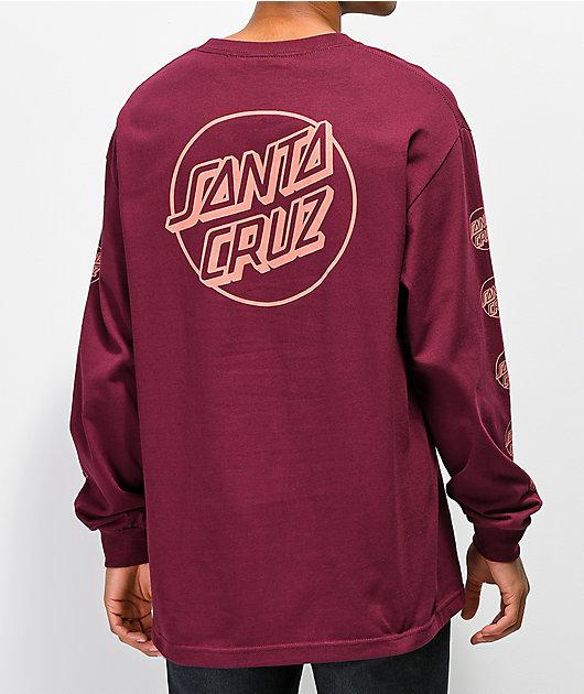 Santa Cruz Opus Repeat Burgundy Long Sleeve T-Shirt