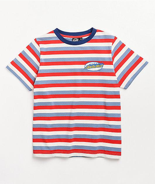 Santa Cruz Oval Flame Dot Blue, Red & White Stripe T-Shirt
