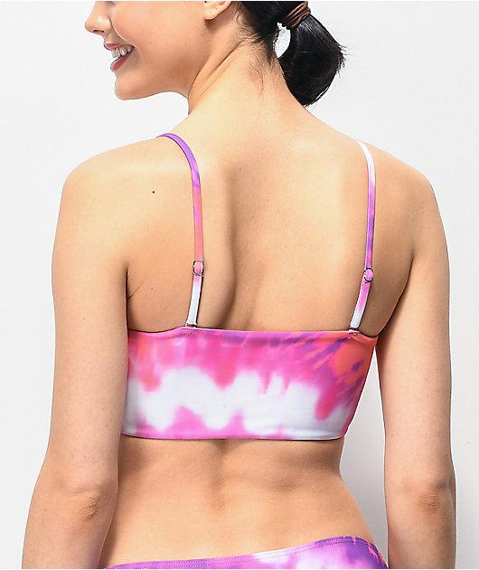 Santa Cruz Pink & Purple Tie Dye Bandeau Bikini Top