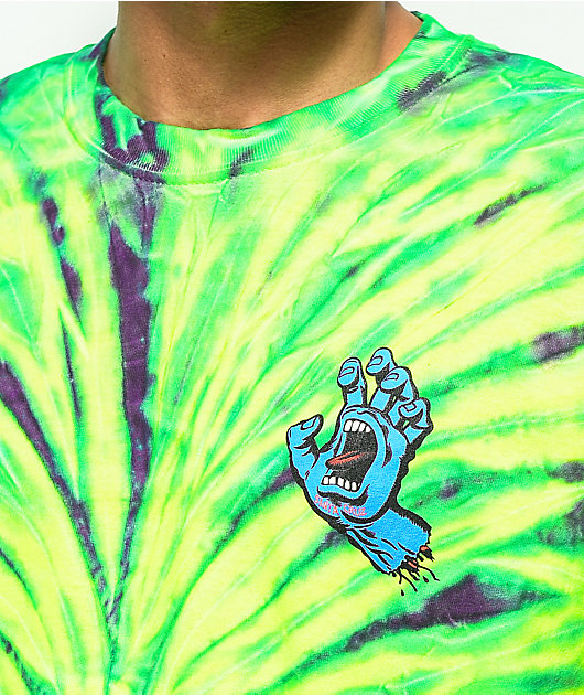 Santa Cruz Screaming Hand camiseta verde con efecto tie dye