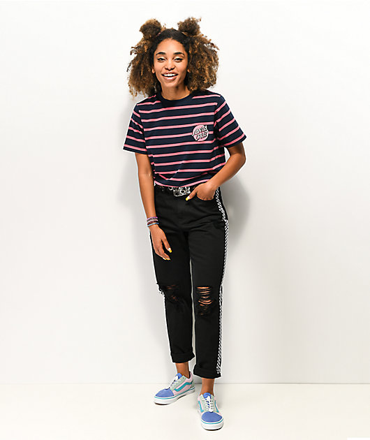 Santa Cruz Scribble Dot Navy & Pink Stripe T-Shirt
