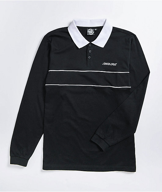 Santa Cruz Strip Block Black Long Sleeve Polo Shirt