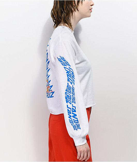 Santa Cruz Vortex Hand White Long Sleeve Crop T-Shirt