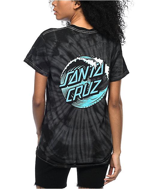 Santa Cruz Wave Dot Black Tie Dye T-Shirt