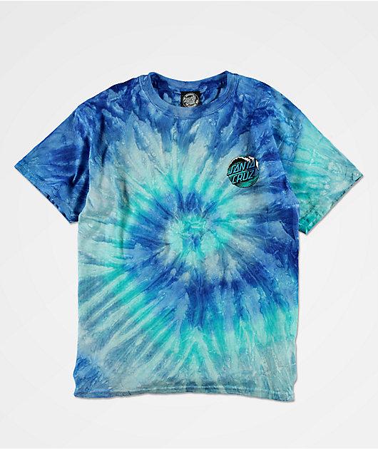 Santa Cruz Wave Dot camiseta tie dye azul para niños