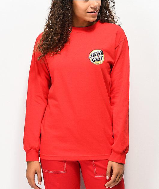 Santa Cruz Wiggle Dot camiseta roja de manga larga