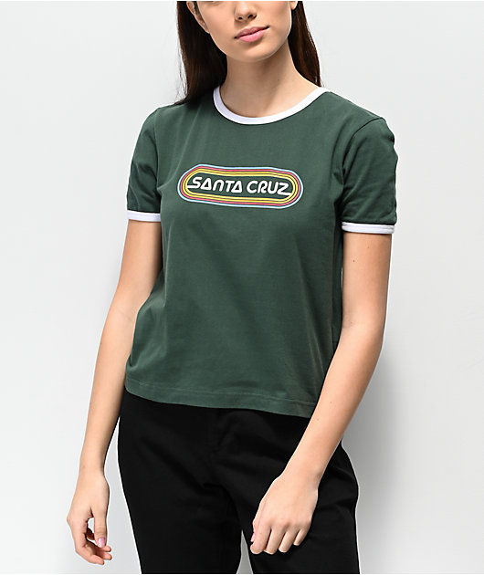 Santa Cruz Woodstock Fern Green Ringer Crop T-Shirt