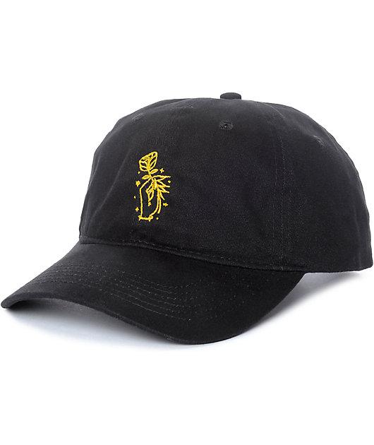 Sausage Rose Hand Black Strapback Hat