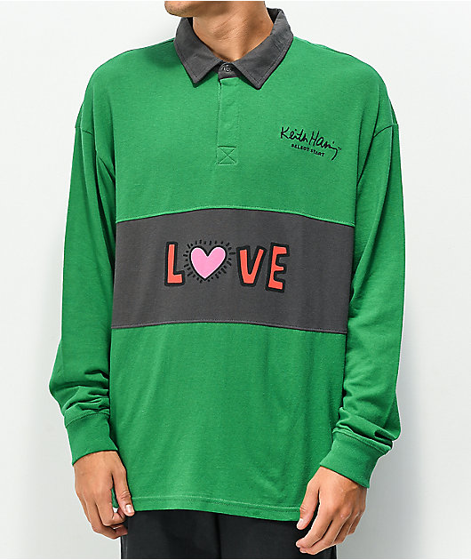Select Start x Keith Haring Love Green Rugby Shirt
