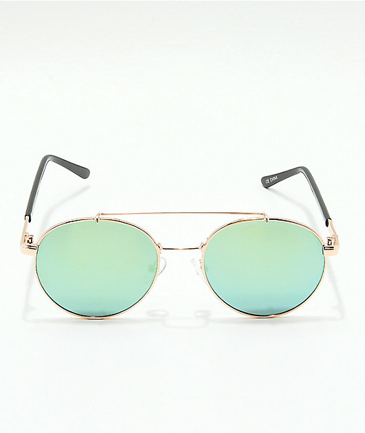 Shiny Gold & Blue Reflective Sunglasses