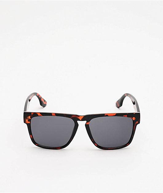 Smoke Tortoise & Black Square Sunglasses