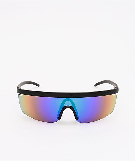 Speedster Mirrored Wrap & Black Sunglasses