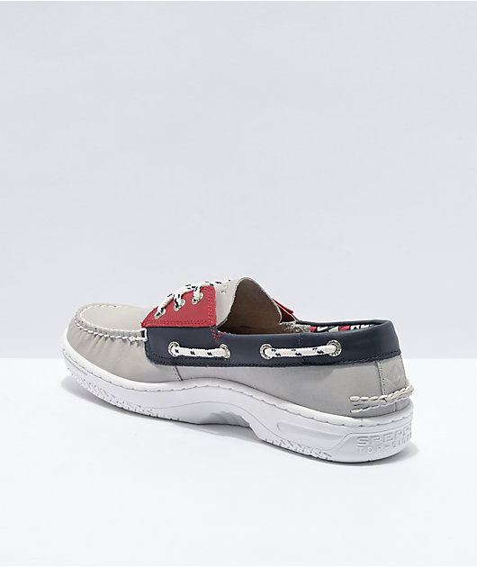 Sperry Billfish PLUSHWAVE Nautical Grey, Red & Navy Shoes