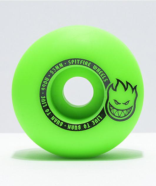 Spitfire Scorchers Green & Black 53mm 99a Skateboard Wheels