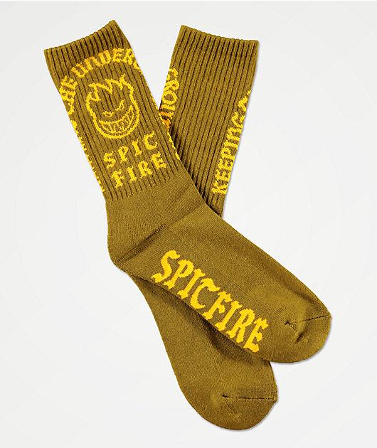 Spitfire Steady Rockin calcetines de color oliva y amarillo