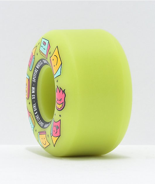 Spitfire x Skate Like A Girl Formula Four 53mm 99a Glow Green Skateboard Wheels