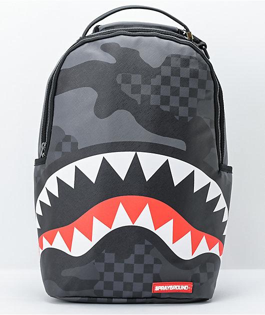 Sprayground 3AM Black & Grey Camo Checkerboard Vegan Backpack