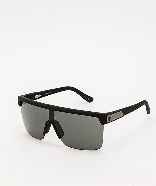 Spy Flynn 5050 HD Plus Soft Matte Black & Grey Green Sunglasses