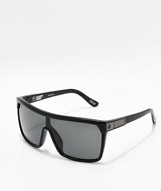 Spy Flynn Black Gloss, Matte Black, Grey-Green Happy Lens Sunglasses