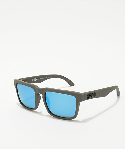Spy Helm Soft Matte Dark Grey & Light Blue Polarized Sunglasses