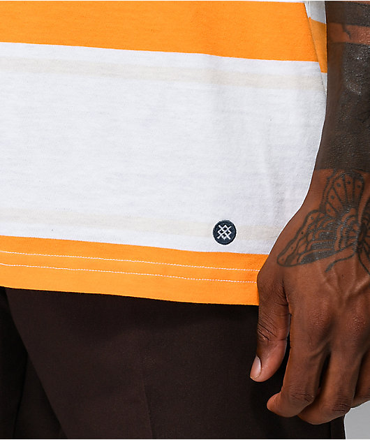 Stance Boyd camiseta blanca, naranja y dorada de rayas