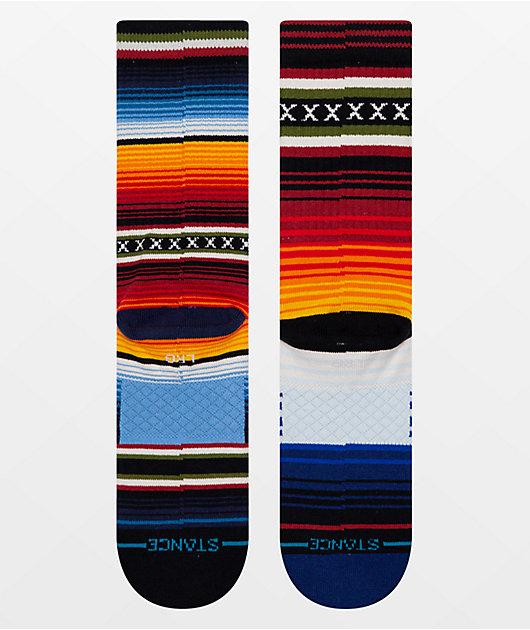 Stance Curren Striped Red, Orange & Blue Crew Socks