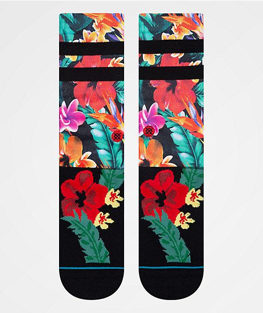 Stance Pau calcetines de rayas negras y florales