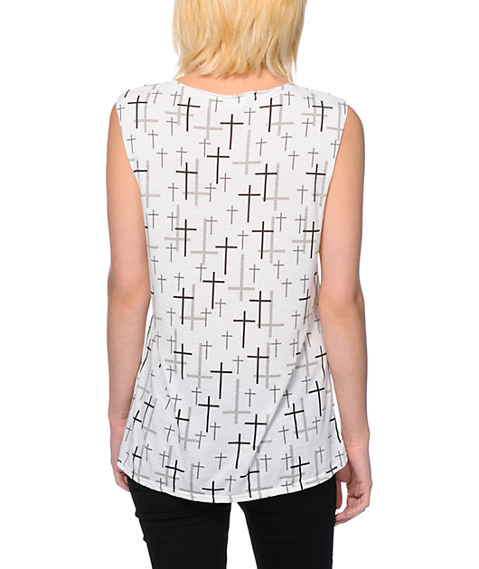 Starling Allover Cross White Muscle Tank Top