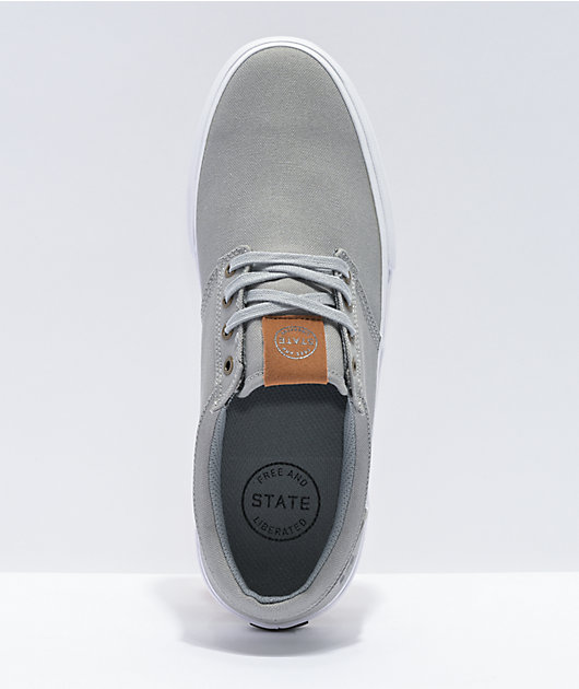 State Elgin Mid Grey & White Canvas Skate Shoes