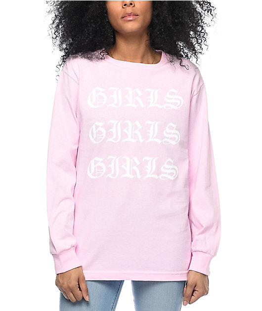 Stay Cute Girls Girls Girls Pink Long Sleeve T-Shirt