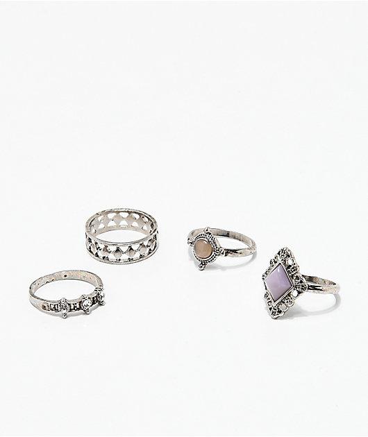 Stone + Locket 4 Pack Antique Metal Rings
